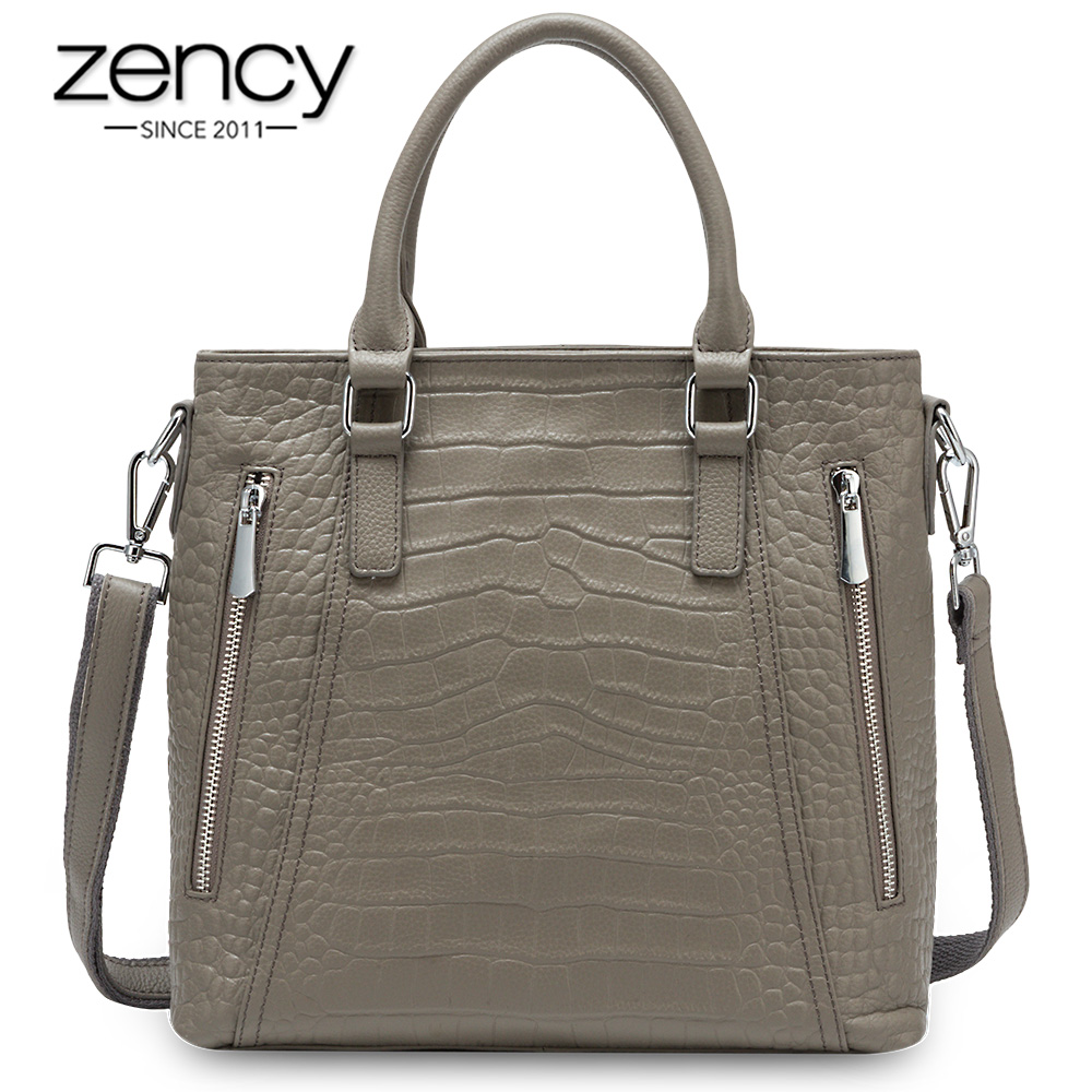 Zency Casual Tote Handbag 100% Genuine Leather High Quality Lady Shoulder Bag Fashion Women Crossbody Bags Black Grey