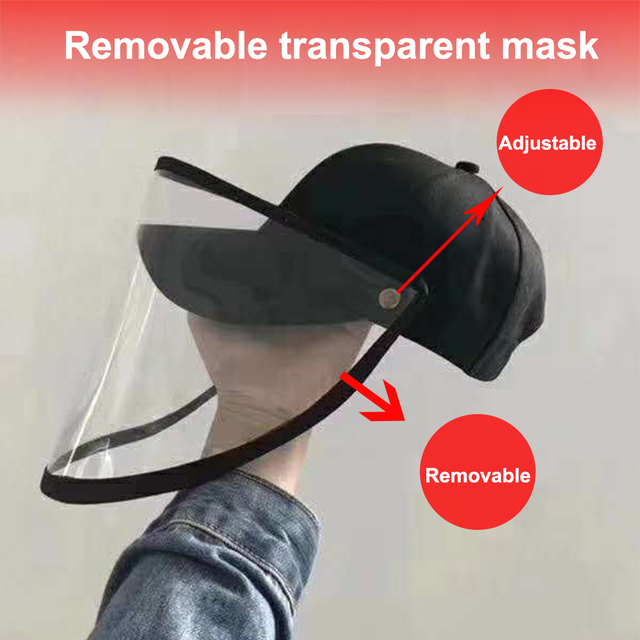 Protective Cap Coronary Flu Protective Hat Anti-spitting Hat Anti-saliva Cap Cat With Clear Mask Removable Baseball Hat New 2