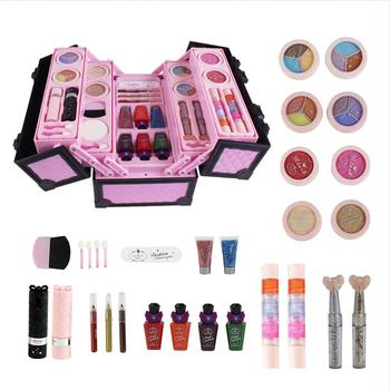 Kids Girls Makeup Set Simulated Cosmetic Case Water Solubility Cosmetic Case Toys Makeup Tool Kit Box Pretend Play Kit