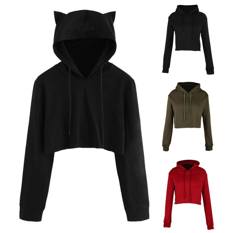 Cat Hat Sweatshirt Love Cat Hooded Women Sleeve Hoodies Crop Clothes Tops Long Pullover