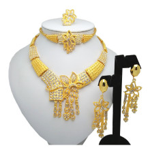 New African Gold Color Jewelry Sets Dubai Necklace Bracelet Earrings Ring Jewelry Sets Bridal Wedding Accessories Jewelry bright dubai jewelry sets blue african costume jewelry sets indian beads necklace set christmas boutonniere bridal party gift