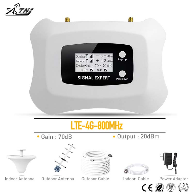 4G LTE mobile signal booster 800mhz high gain 4g signal repeater amplifier kit
