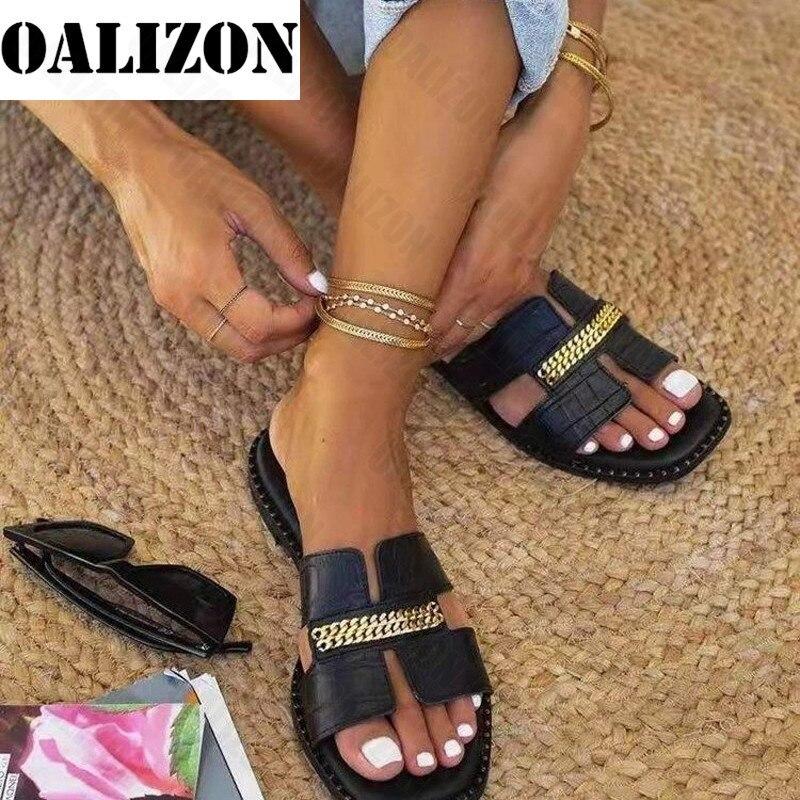 Классическая Дизайнерская обувь, новые модели, Женская 2021 женские сланцы на плоской подошве с двойной цепью сандалии; Комнатные тапочки; Же...