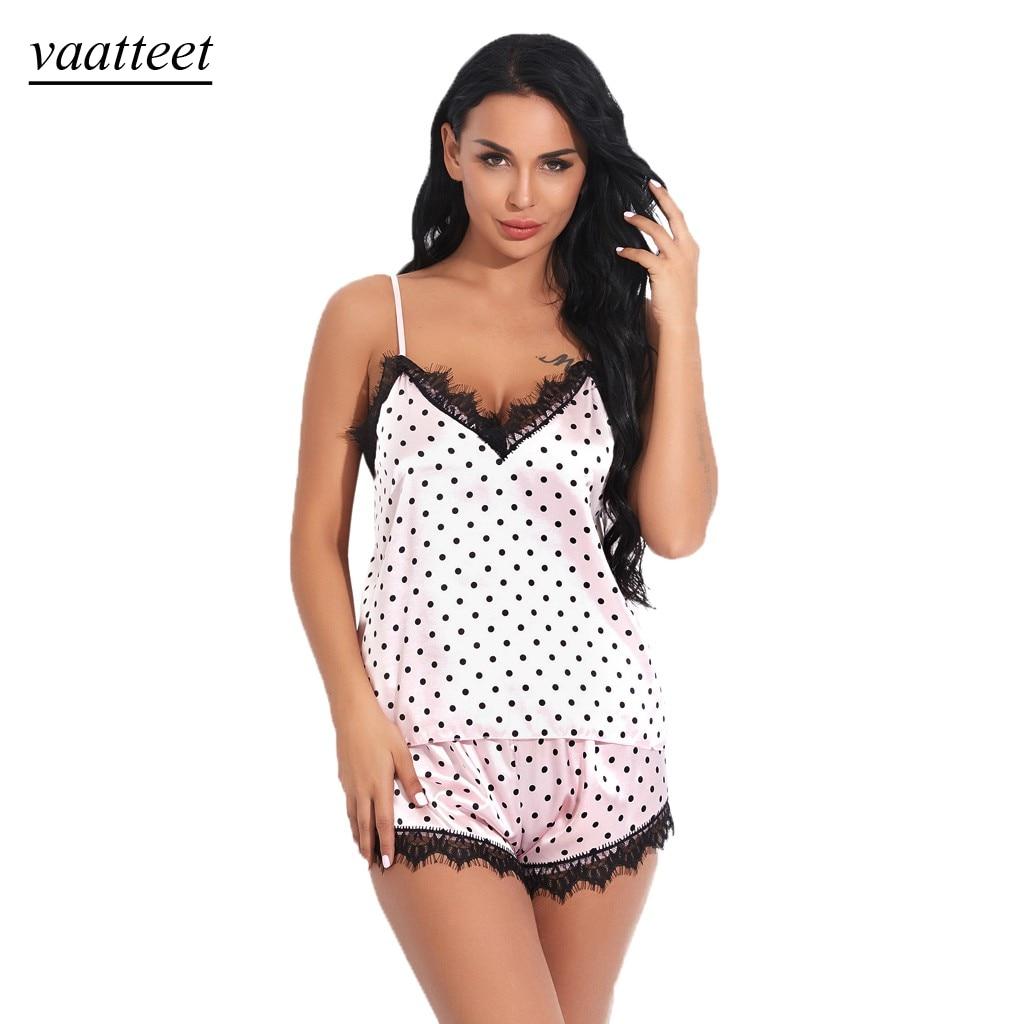 S-XL Women's Sleepwear Sexy Satin silk Pajama Set Lace V-Neck Pyjamas Sleeveless Polka dot printing Top 2019 Short pijama mujer