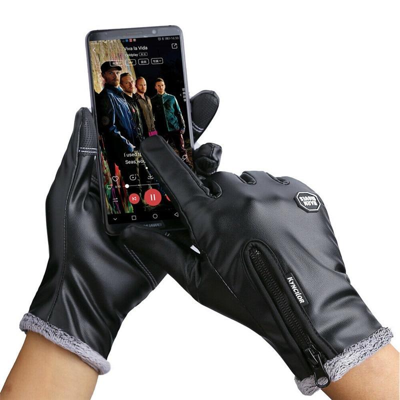 Mens PU Leather Gloves Winter Touch Screen Warm Fleece Lined Panel Lambskin Sheepskin Zipper Bicycle Driving Gloves Waterproof