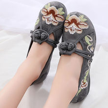 Embroidery flats female summer shoes women's loafers 2020 fabric ethnic flats mom breathable shoes цена 2017