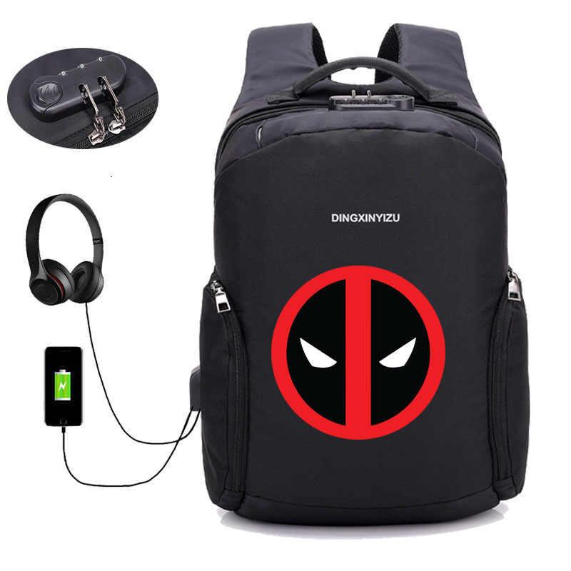 도난 방지 배낭 USB 충전 배낭 Deadpool 배낭 노트북 여성 남성 남성 여행 배낭