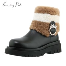 Зимние теплые ботинки krazing pot 2020 из коровьей кожи овечьей