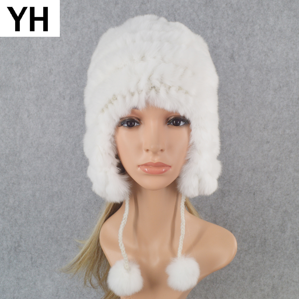 Handmade Knitted Rex Rabbit Fur   Beanies   Hats Winter Warm Soft Women Real Rex Rabbit Fur Hat 100% Real Natural Rex Rabbit Fur Cap