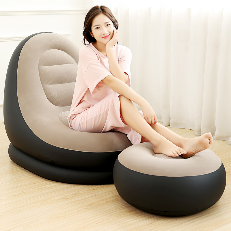 Lazy Man Outdoors Sofa Folding Inflatable Leisure Soft And Comfortable Flocking Fabric Sofa Bed Creative Couches With Footstool
