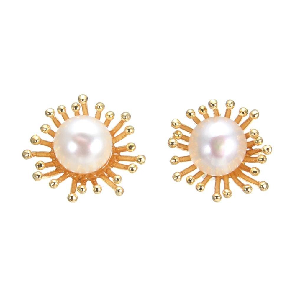 Pearl Earrings White Pink Freshwater Pearl Stud Earrings For Women Party Gift Fashion Jewelry Beautiful Flower Leaf Earrings