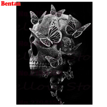 5D round square diamond embroidery Skull and Butterflies Diy full diamond painting mosaic pictures rhinestones black white art