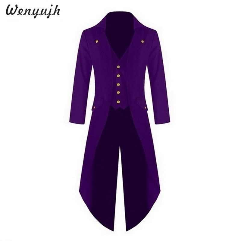 WENYUJH Men Vintage Suit Jacket Long Tuxedo Vintage Steampunk Retro Tailcoat Single Breasted Gothic Victorian Frock Coat Cosplay