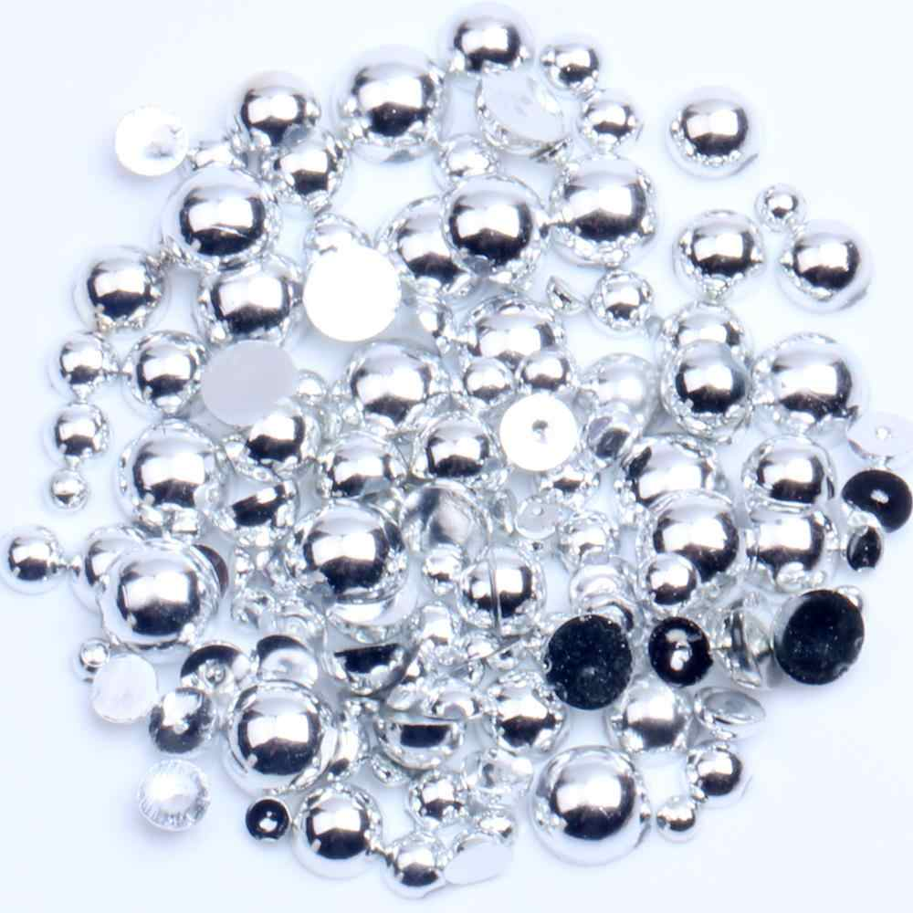 1000 Mixed Size Flatback Beads DIY Half Round Imitation Pearls Craft Resin ABS