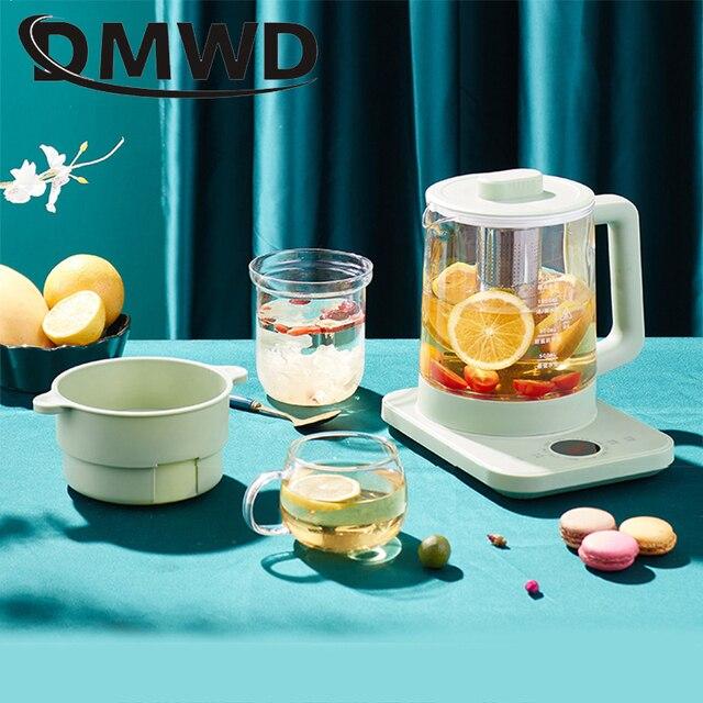 DMWD กาต้มน้ำไฟฟ้า Teapot Quick ร้อนต้มน้ำชาหม้อ Glass Blue Light ความร้อนกาต้มน้ำ Auto Power Off หม้อไอน้ำ 2L EU