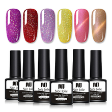 NEE JOLIE 1 Bottle 8ml Gel Nail Polish Colorful Series 10 Colors Available Soak Off Art UV LED Varnish