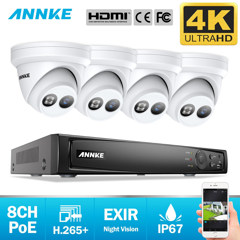 ANNKE 8CH 4K Ultra HD POE sistema de seguridad de vídeo de red 8MP H.265 + NVR con 4X8 MP 30m EXIR visión nocturna cámara IP resistente a la intemperie