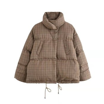 Cotton clothing female short paragraph 2019 new Korean version of loose ins bread clothes thick winter coat lattice tide