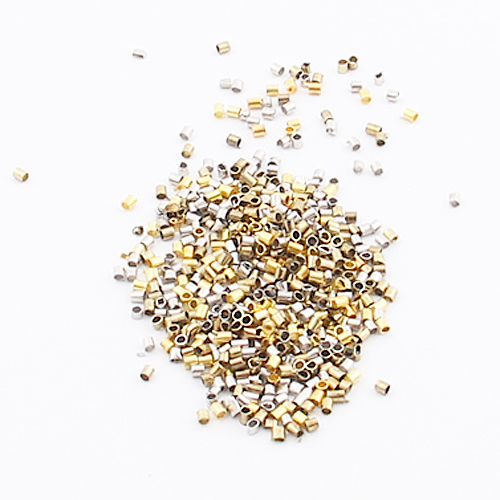 1000-Piece Mix Tube Crimp Beads For Jewelry Making, 1.5mm, Silver&Gold