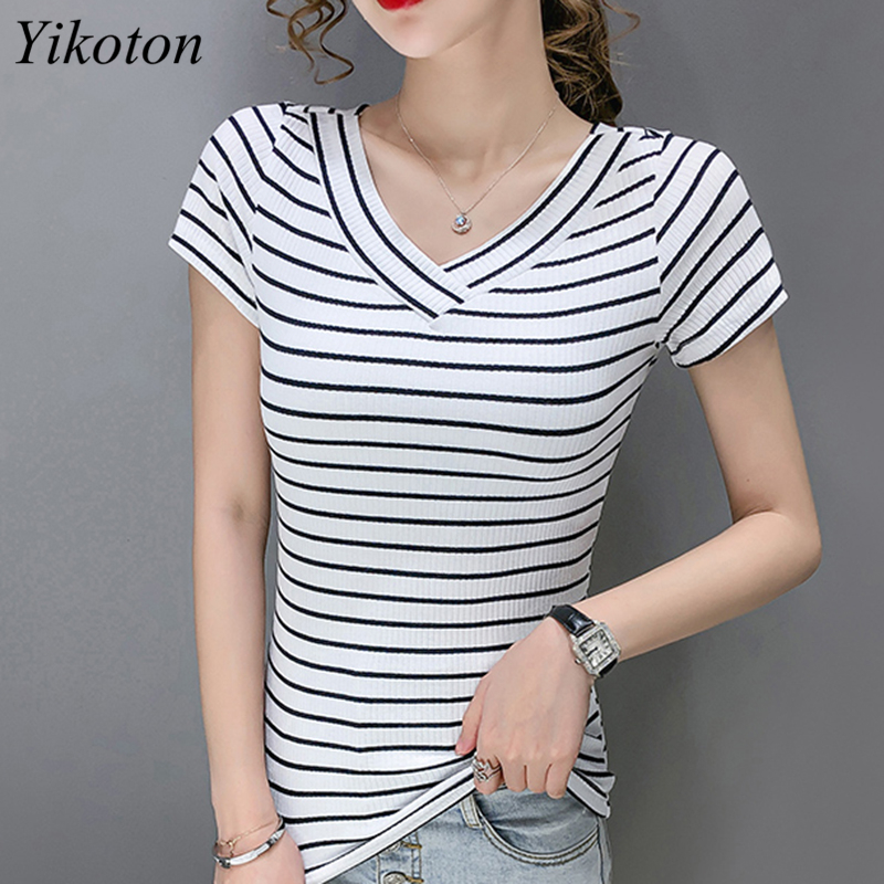 100% Cotton Womens T-Shirt Stripes V Collar T Shirts Short Sleeve Clothes Women Slim Basic Tshirt Casual Top Tees For Female 3