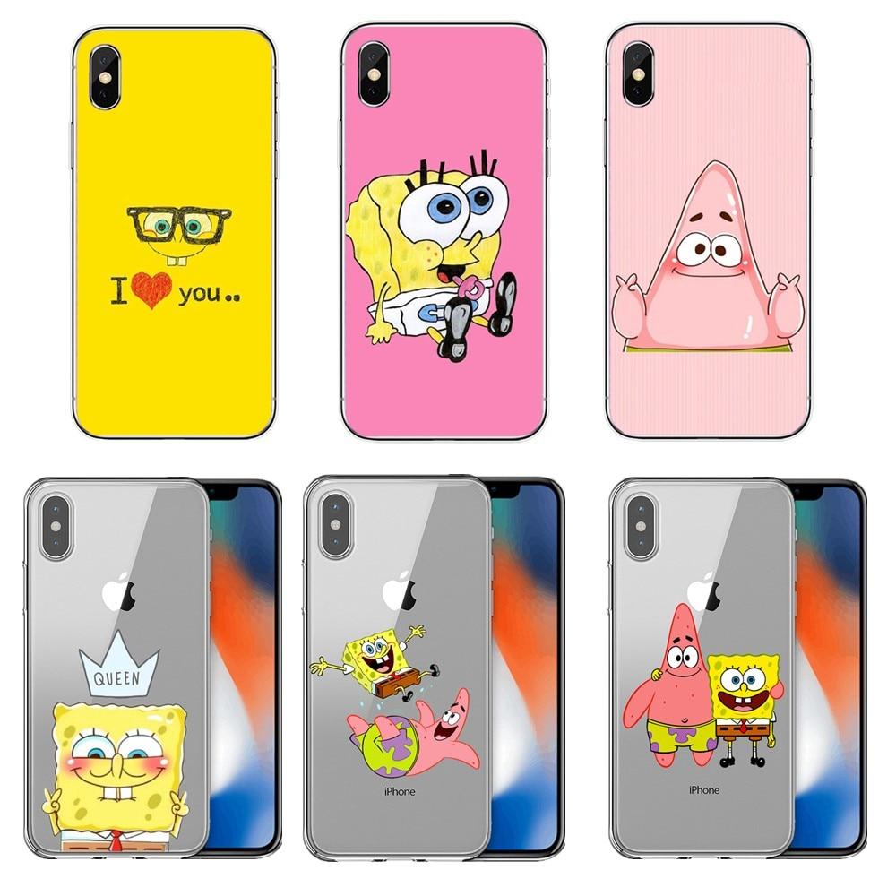SpongeBobs SquarePants Sponge Bob Best Friend TPU soft silicone suitable for iphone11 11Pro 11ProMax X XR XMax 8Plus 7 6 6Plus