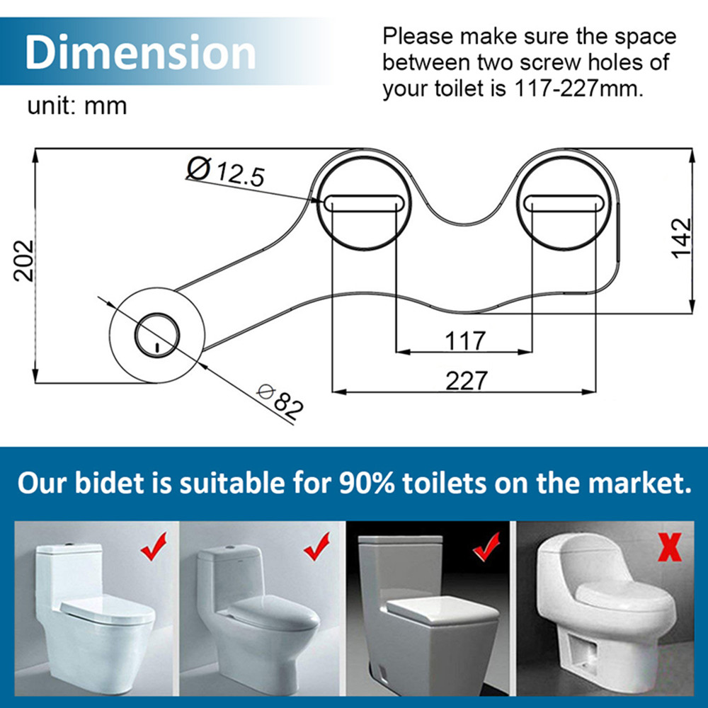 SOOSI Ultra Thin Non Electric Bidet Toilet Seat Bidet Dual Nozzle Bidet Sprayer Fresh Cold Water Personal Hygiene Easy Install 5
