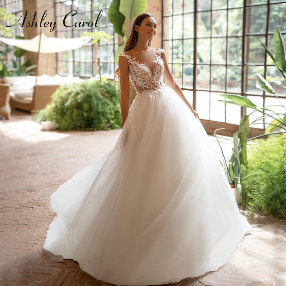 Ashley Carol Tulle A-Line Wedding Dress 2020 Vestido De Noiva Sweetheart Sleeveless Beach Bride Button Chapel Wedding Gowns
