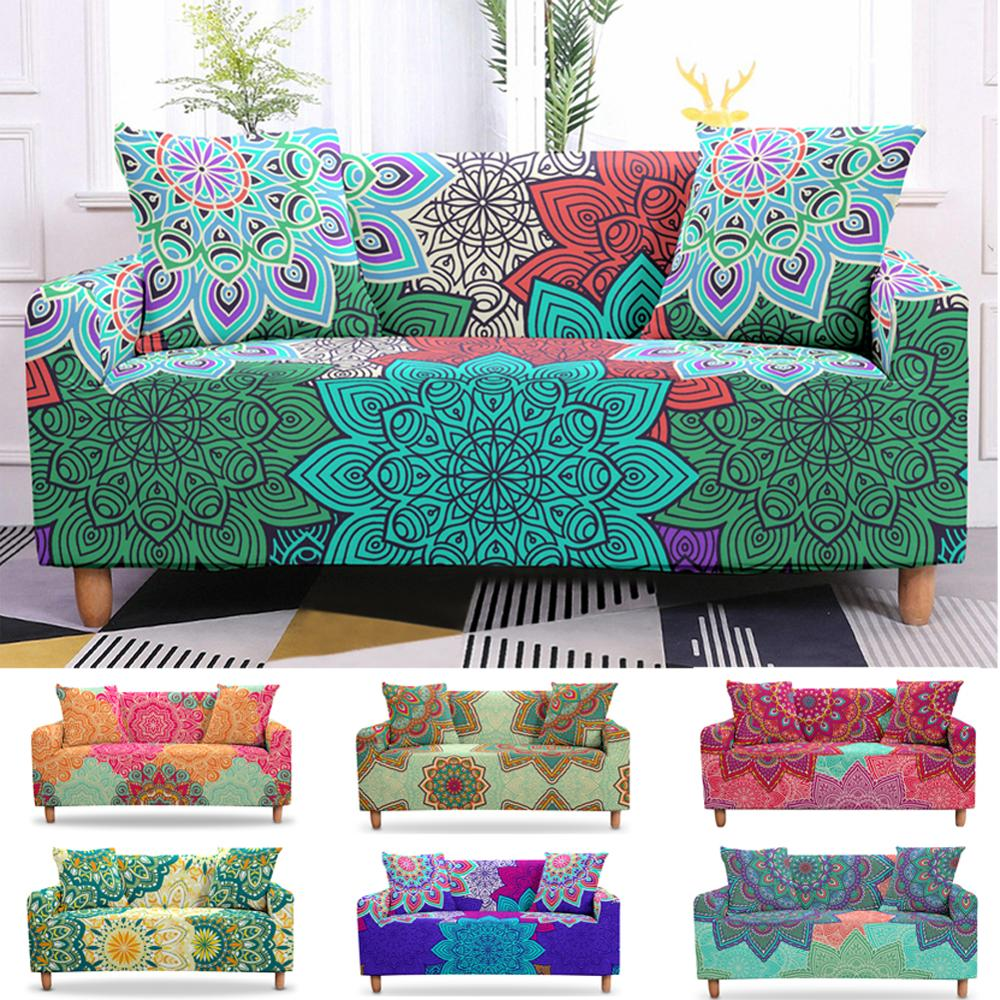 Stretch Slipcovers Sectional Elastic Mandala Sofa Cover For Living Room Armchair Cover One/Two/Three Seat Couch Cover Home Decor