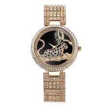Женские Водонепроницаемые кварцевые часы с кристаллами из нержавеющей