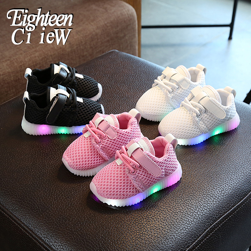 Children Glowing Sneakers For Boys 2020 New Air Mesh Breathable Kids Led Shoes For Girl Light Up Shoes Basket Fille Enfant