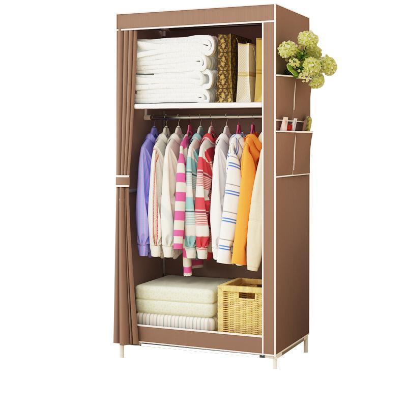 Minimalist Modern Non-woven Cloth Wardrobe Baby Storage Cabinet Folding Steel Individual Closet Bedroom Furniture
