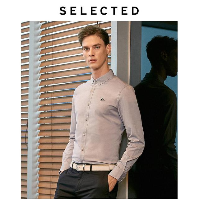 SELECTED Mens Regular Slim Fit Business Casual Embroidered Long sleeved Shirt S