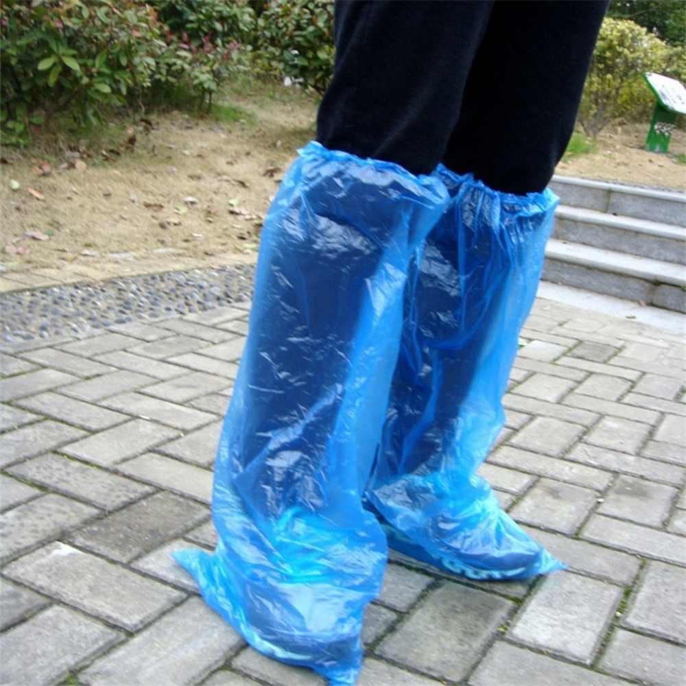 Cubiertas de zapatos desechables zapatos de lluvia azules y botas cubierta de zapatos largos de plástico transparente impermeable antideslizante