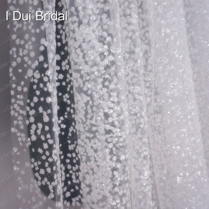 Image 3 - One layer Shinny Veil Long Cathedral Length 4 meter long 3 meter wide with comb ivory with shinny sequins