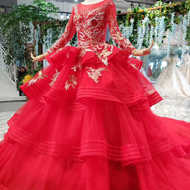 HTL840 muslim wedding dresses with long sleeves appliques o-neck red wedding gown with tail ball gown lace up back vestido festa