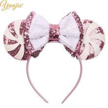 Фестиваль День святого Валентина Розовый Блеск уши Минни-Маус повязка на голову женская мода оголовье для девочек вечерние аксессуары для волос