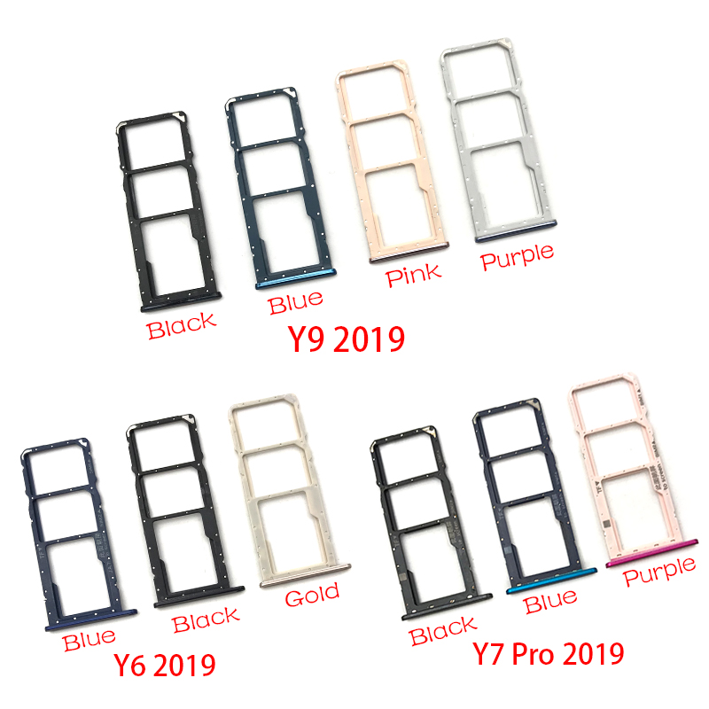 SIM Card Tray Slot Holder Replacement Part For Huawei Y6 Y9 Y7 Pro 2019