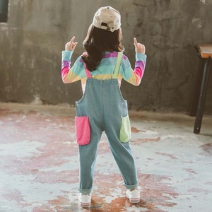 Image 3 - ילדי בגדי פסי T חולצה & סרבל בנות תלבושות סרבל ג ינס בנות חליפת ילדים מזדמנים סתיו חורף חליפות בנות