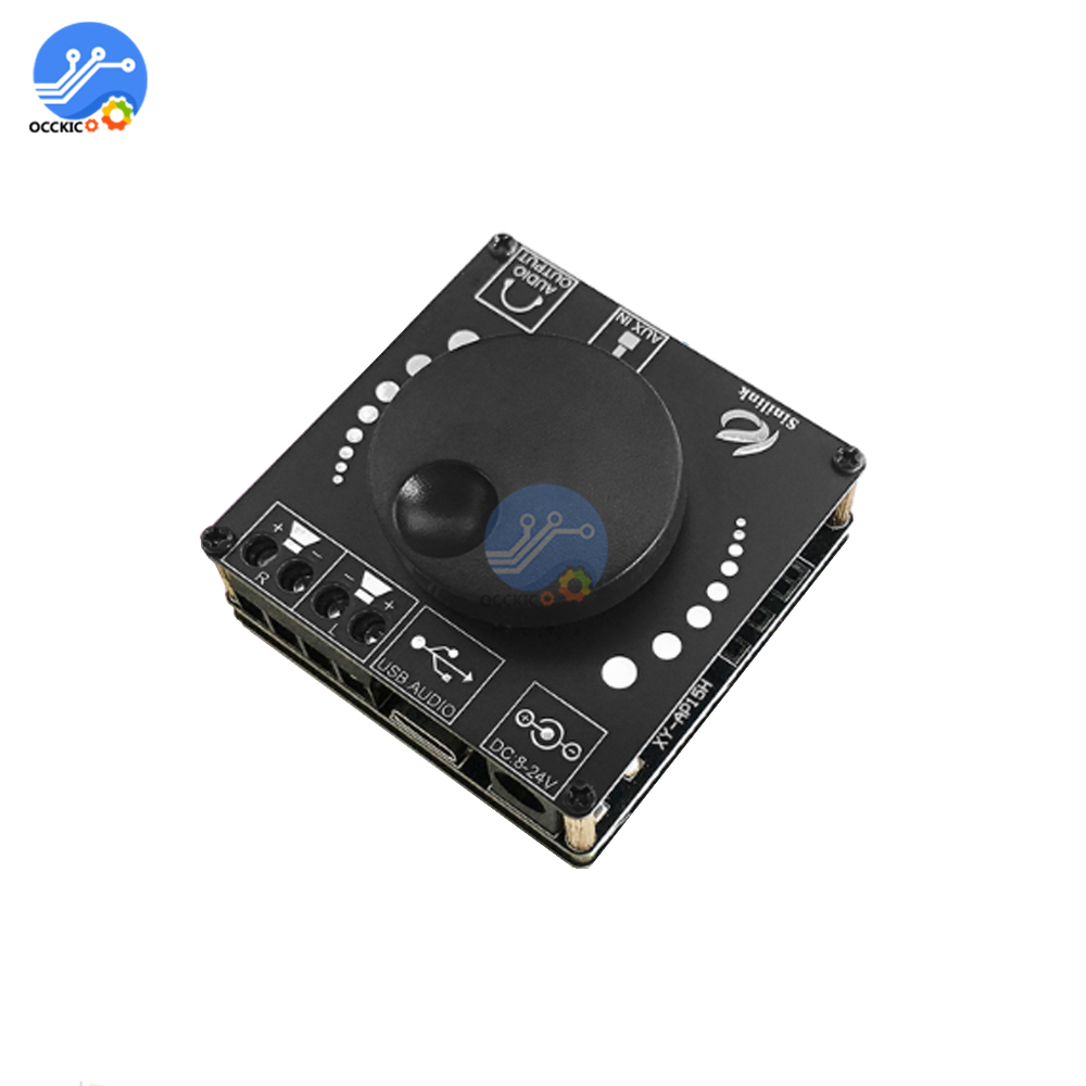 Bluetooth 5.0 20WX2 Stereo Power Digital Amplifier Board Module AMP Amplificador Home Theater 12V 24V 3.5mm AUX USB XY-AP15H