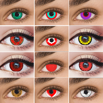 Cosplay Anime Demon Eyes Lenses Contact Lens for Eyes Cute Cateye Love Len Multicolored Lens Cat Eye Colored Lenses for Eye image
