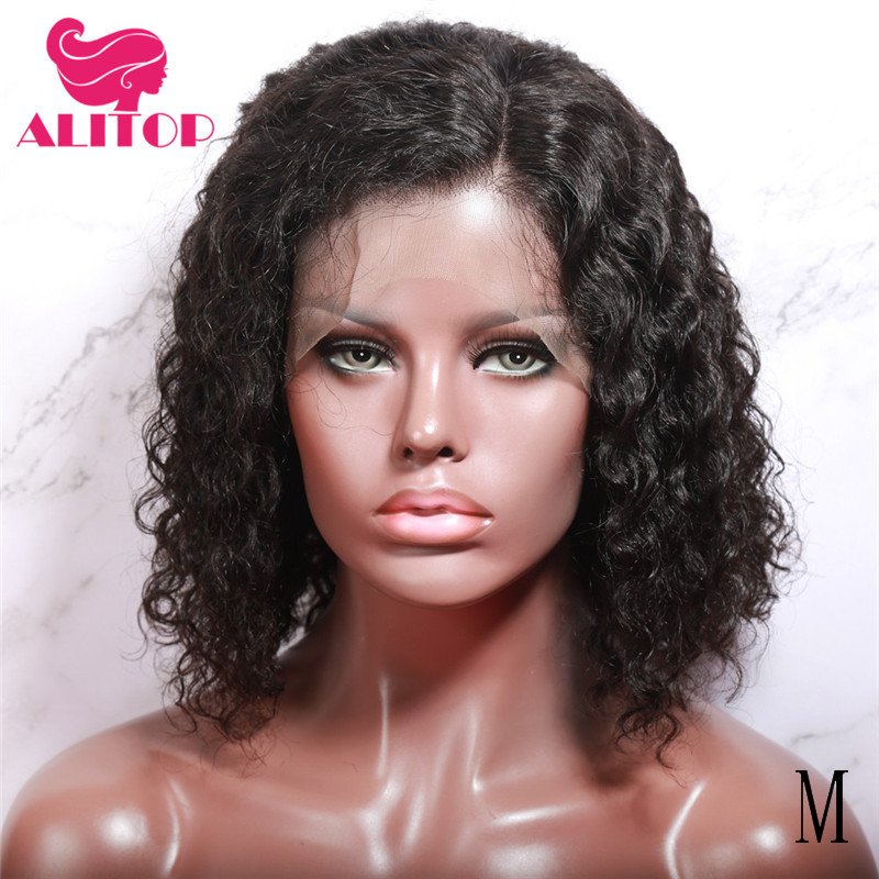 ALITOP Lace Front Human Hair Wigs 130% Density Middle Ratio Kinky Curly Bob Wig Pre Plucked With Baby Hair Brazilian Remy Hair