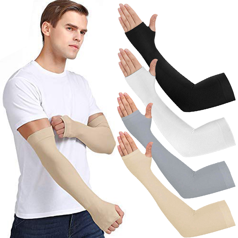 4 Pairs Unisex Cooling Arm Sleeves Elbow Cover Cycling Run Fishing UV Sun Protection Outdo Women Nylon Cool Arm Sleeves