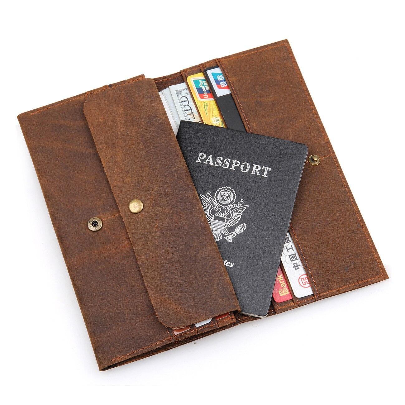 Passport Wallet Crazy Horse Haut Leder Reise Brieftasche Reisepass Abdeckung Hält Kreditkarten ID Lange Brieftasche