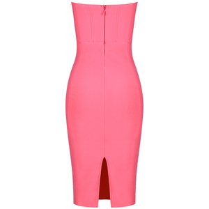 Image 5 - Ocstrade Womens 여름 붕대 옷 새 도착 2019 Strapless 핑크 붕대 드레스 Bodycon 섹시한 나이트 클럽 파티 드레스