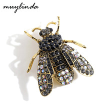 Muylinda preto strass abelha broche inseto broches para feminino pinos cachecol clipe jóias broach bouquet(China)