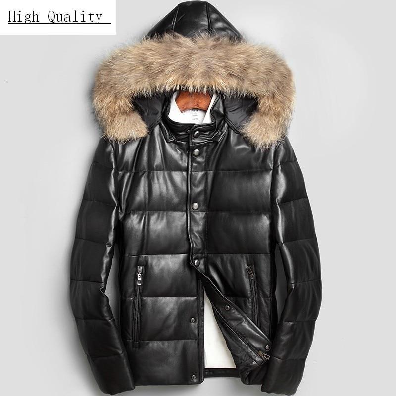 Autumn Winter Real Leather Down Jacket Hooded Men Genuine Leather Jacket Raccoon Dog Fur Collar Sheepskin Coat Warm Male Parkas