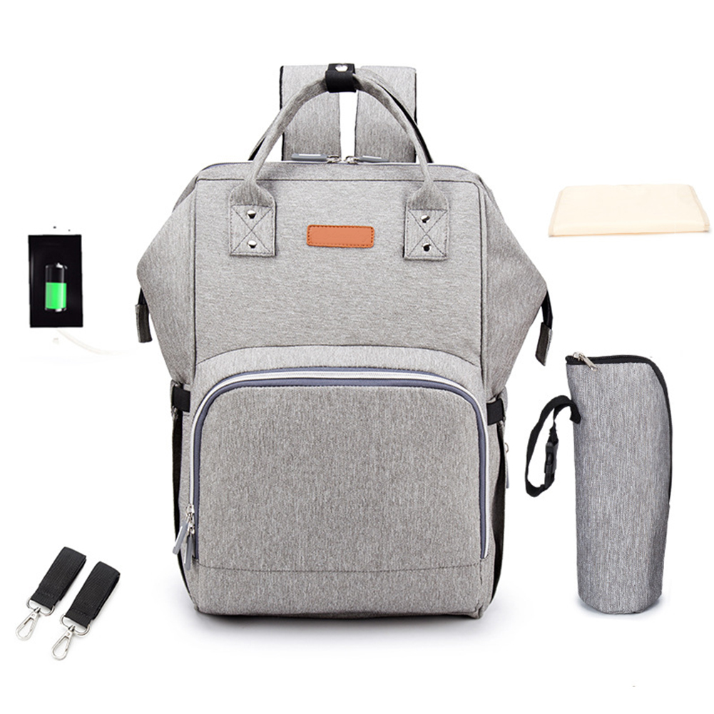 Portable Solid Diaper Bag Baby Care Fashion Lightweight Multi Pocket Large Capacity Nappy Nursing Mummy Zipper Backpack