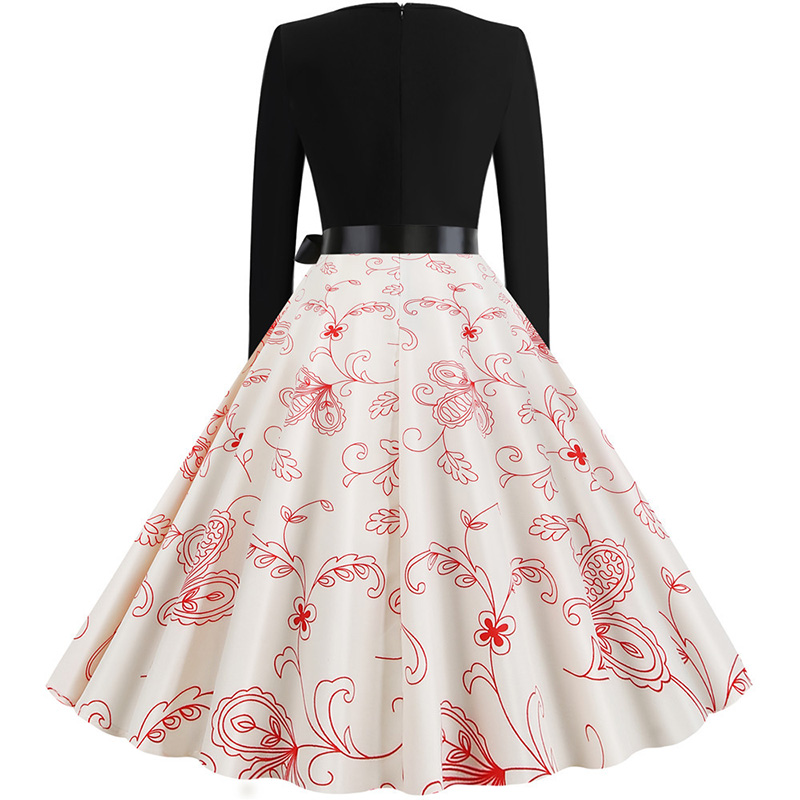 Women Long Sleeve Winter Vintage Dresses Sexy Black Music Note Print V-neck Rockabilly Pin up Party Dress Vestidos Plus size 615