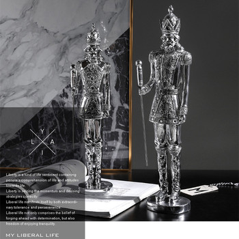 Nordic Style Plating Nutcracker Art Sculpture Luxurious Figure Figurine Resin Crafts Home Decoration Accessories Gift R3765