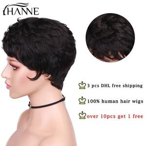 Image 2 - HANNE 100% peruki z ludzkich włosów krótkie mokre i faliste Remy peruka krótkie warstwowe fryzura pixie z Bangs czarne brazylijskie włosy brak koronkowa peruka